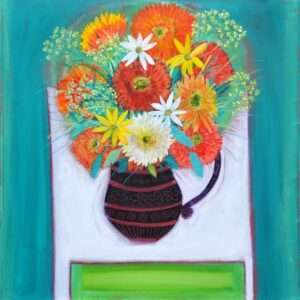 Flowers in a vase Hand painted Acrylic painting by John Birch